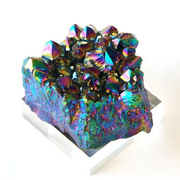 RAINBOW CRYSTAL CLUSTERS : Crystal Healing, Chakras, Energy Healing, Meditation, Titanium Amethyst, Home Decoration, Natural, Hippie,New Age