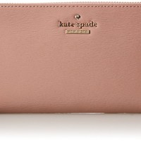 Kate Spade New York Cedar Street Patent Lacey Checkbook Wallet Rose Water One Size