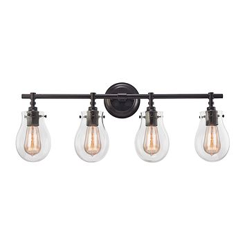 Jaelyn 4-Light Vanity Lamp in Oil Rubbed Bronze with Clear Glass