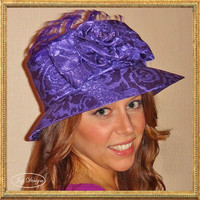 Fancy Reconstructed Vintage Purple Damask Hat with ostrich feathers and delicate iridescent beads Perfect Church Derby or Wedding Guest Hat