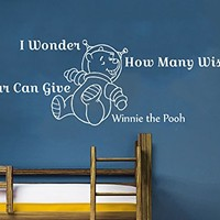 Wall Decals Quotes Vinyl Sticker Decal Quote Winnie the Pooh I Wonder How Many Wishes A Star Can Give Nursery Baby Room Kids Boys Girls Home Decor Bedroom Art Design Interior NS809