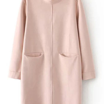Pink Stand Collar Pockets Loose Dress