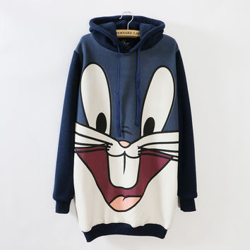Plus size women's warm fleece padded thicken hoodies cartoon rabbit print long Hooded sweatshirt FS0291