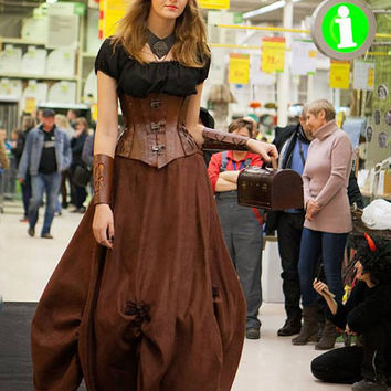 Steampunk corset hard leather, reduction waist about 8-15cm