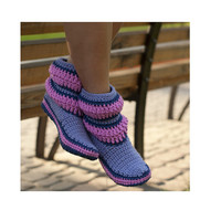 Crochet Boots Lilac Pastel Purple Stripes for the Home Slippers Women Boots