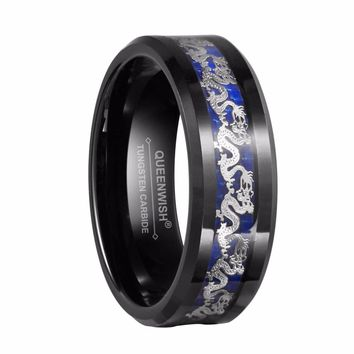 Queenwish 8mm Black Tungsten Rings Silver Color Dragon Black And Blue Carbide Inlay Wedding Engagement Rings For Couples