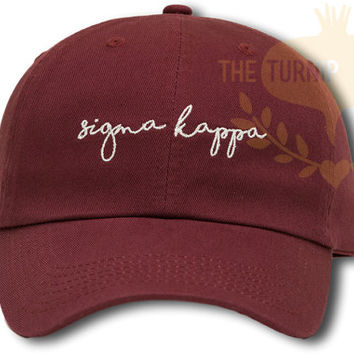 Sigma Kappa Handwriting Script Sorority Baseball Cap - Custom Color Hat and Embroidery