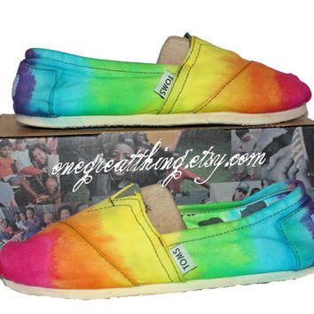 TOMS Tie Dye Shoes  - Bright colors - hand dyed and custom made by One Great Thing :)