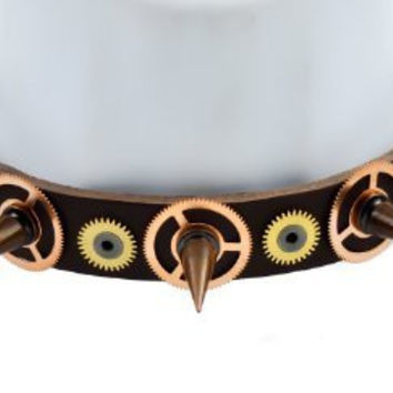 Brass Spike Cog Steampunk Leather Choker Necklace