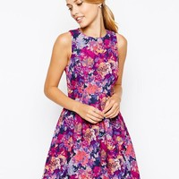 Oasis | Oasis Rose Print Bonded Dress at ASOS