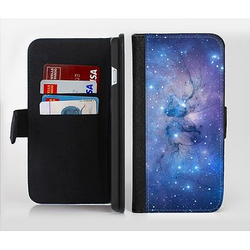The Blue & Purple Mixed Universe Ink-Fuzed Leather Folding Wallet Credit-Card Case for the Apple iPhone 6/6s, 6/6s Plus, 5/5s and 5c