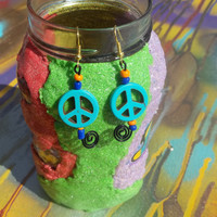 Spiral Turquoise Magnesite Peace Sign  Beaded Earrings
