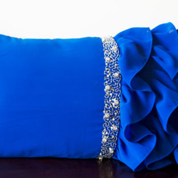 Royal Blue ruffled throw pillows -Ruffle pillows -12x20 -Blue Lumbar Pillow -Rectangle Pillow -Beaded cushion -Gift -Bead Embroidered pillow