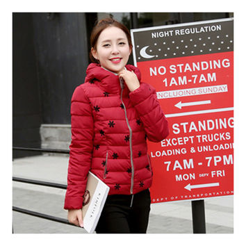 Winter Slim Embroidered Hooded Woman Down Coat   wine red   M