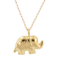 Good Luck Elephant Necklace with Om Stamp in 24k Gold Vermeil, #6871-yg