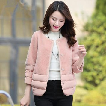 2017 Winter Jacket Women Lambs Wool Stitching Cotton Coat Short Parka Women Basic Coats Wadded Jackets Overcoat Jaquetas C3498