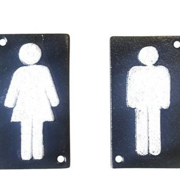 "2pc Cast Iron Bathroom Restroom Signs 4"" x 2 1/2"""