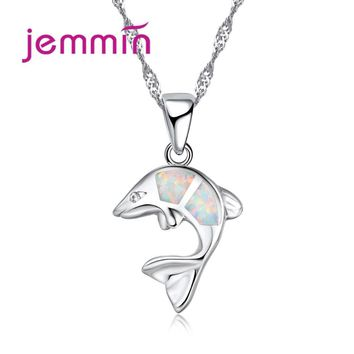 Jemmin Noble Colorful Fire Opal Pendant Swimming Dolphin Necklace Wholdsale 925 Sterling Silver Jewelry for Women Bijoux Gift
