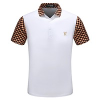 LV Louis Vuitton 2018 summer tide brand fashion wild men's lapel T-shirt F-A00FS-GJ White