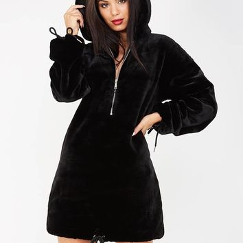 Plush Fur Longline Hooded Dress - Black