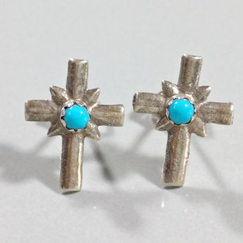 Vintage Blue Stone Turquoise Cross Sterling Silver Earrings with Posts and Butterfly Backings Christian Jewelry Religious Spiritual