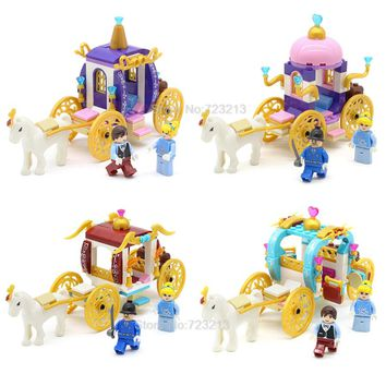 Single Sale Girl Pumpkin Carriage fairy tale Series Princess Building Block Sets Educational DIY Brick toys for Children