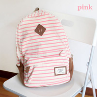 Simple Striped Canvas Backpack-Pink
