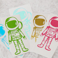 2.5X5 Inch Retro Solid Astronaut, Space Man Graphic Permanent Vinyl Decal/Bumper Sticker