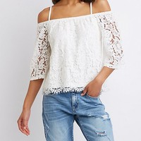 Floral Lace Cold Shoulder Top | Charlotte Russe