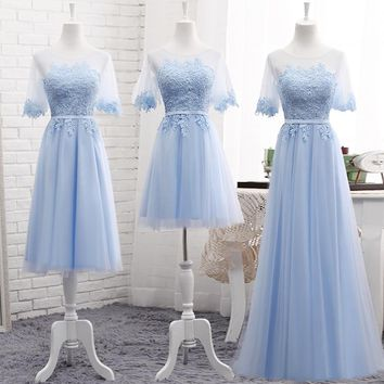 Robe De Soriee New Light Blue Bridesmaid Dress Short Sleeve Lace Embroidery Wedding Prom Party Gown vestidos para formatura 2017