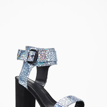 Crackled Faux Leather Heels