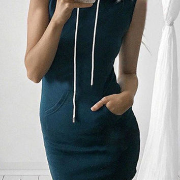 Solid Pocket Hooded Bodycon Dress