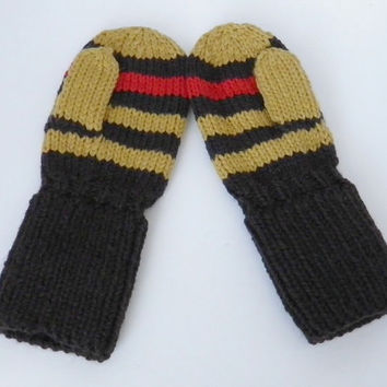 Toddler Mittens Brown, Mustard, and Red Stripe Size 12 to 18 months