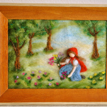 Waldorf inspired needle felted Fairy Tale/ Wool Picture:The Little Red Riding Hood.