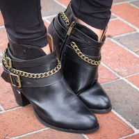 I'm Back Buckle & Chain Ankle Booties- Black