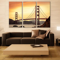 Golden Gate Bridge LARGE Canvas 3 Panels Print San Fransisco Wall Deco Fine Art Photography Repro Print for Home and Office Wall Decoration