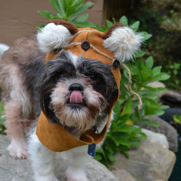 Interpretation of an Ewok Dog Costume Hood ONLY LEATHER