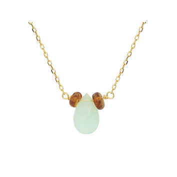 llection 18k Gold Pl Silver Briolette Peruvian Opal & Mini Garnet Necklace, 16""