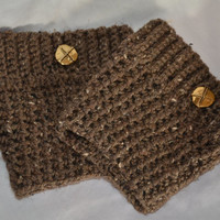 Brown Boot Cuffs with Gold Button