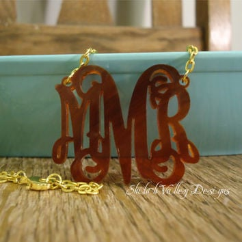 "2"" Acrylic Monogram Necklace Personalized Jewelry Custom Pendant (Shown in Tortoise Shell)"