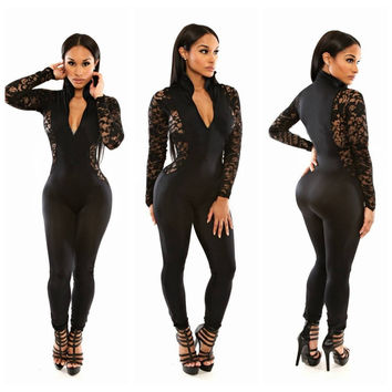 Black V-Neck Long Sleeve Lace Insert Jumpsuit