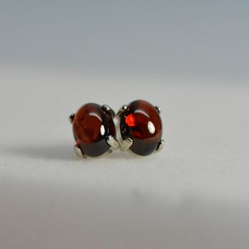 Red Garnet earrings stud - Sterling Silver Cabochon january birthstone