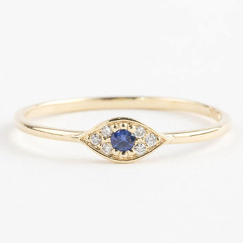Evil eye ring, 14k gold with blue sapphire and white diamonds, Evil eye jewelry, rose gold white gold option evi-r101