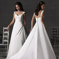 Buy Exquisite Elegant Satin A-line Queen Anne Wedding Dress In Great Handwork