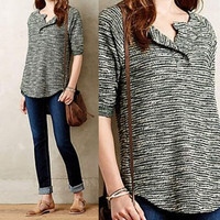 FASHION SOLID COLOR KNIT SHIRTS