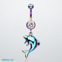 Rainbow Dolphin Jump Belly Button Ring