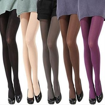Women Fashion Pure Color 120D Opaque Footed Tights Sexy Pantyhose
