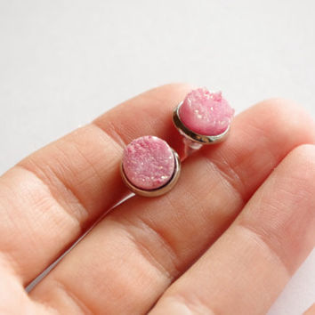 Pink lovely small Druzy Quartz Stud earrings. Small super sparkly pink stone summer post earrings.