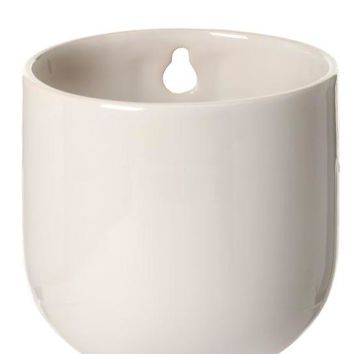 """Small Ceramic Wall Planter in White - 4"""" Tall"""
