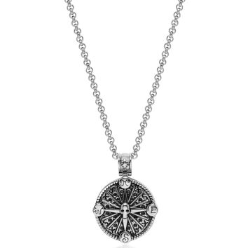 Men's Necklace with Silver Compass